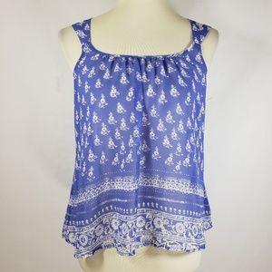Express Sheer Blue Floral Crisscross Top Sz XS
